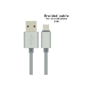 Silver PNGXE Braided 2in1 USB Lightning Sync Data Charging Cable Apple & Samsung
