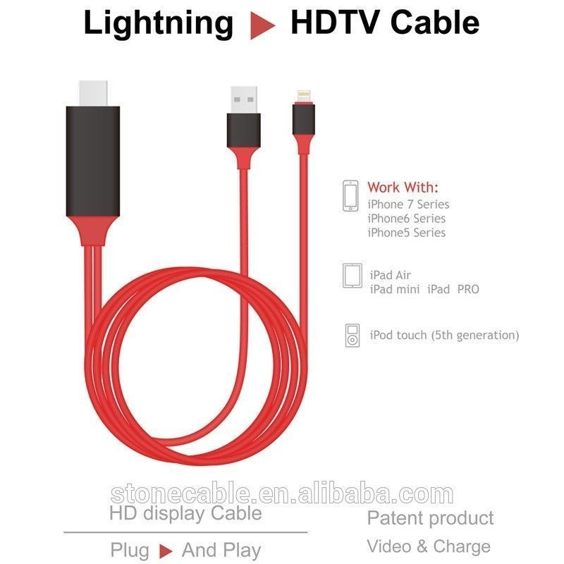 2M Lightning Connect To HDMI TV AV Cable Adapter For Apple iPhone ...
