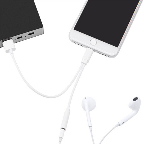 Dual Lightening to 3.5mm Aux Audio Jack Charge Adapter for Apple iPhone 7, 7+, 8, 8+ and iPhone X
