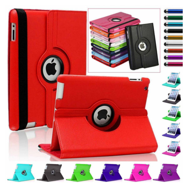 Leather 360 Rotating Stand Case Cover For iPad
