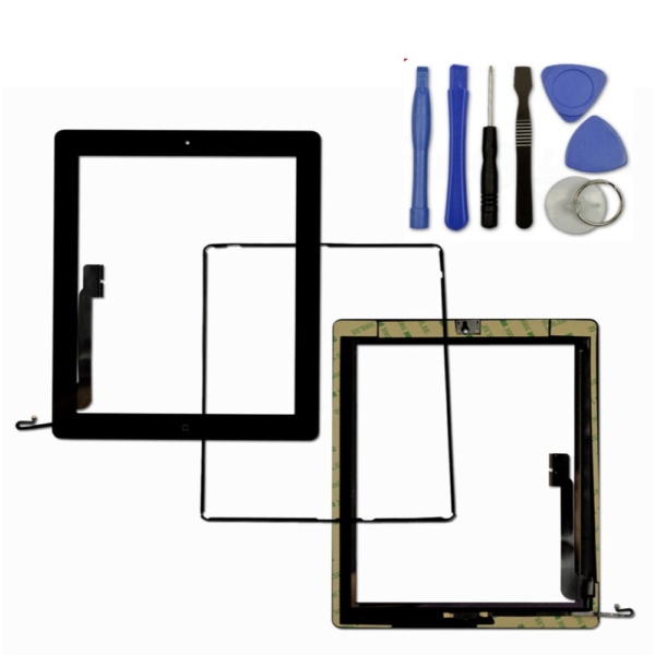 iPad 4 Black Screen Touch Digitizer + Frame Bezel + Home Button Flex