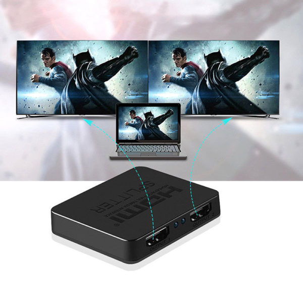 1 IN 2 OUT HDMI Splitter Repeater Amplifier Full HD 1080P 3D with AC Power Cable