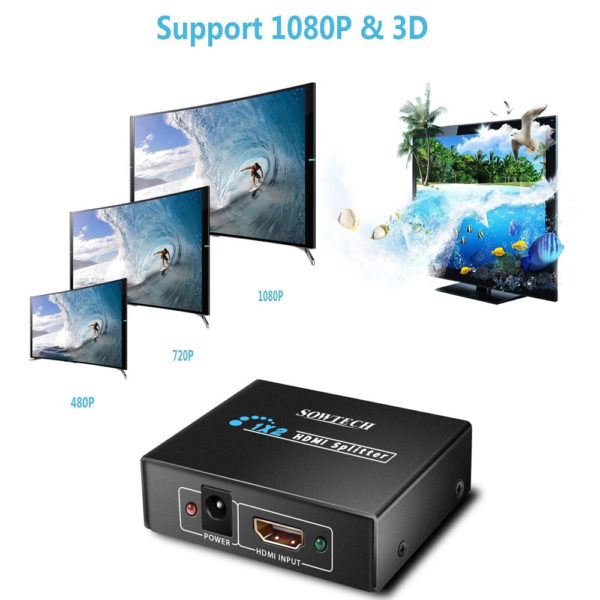 2 Port HDMI Splitter 1080P HDTV Switch Switcher 1 In To 2 Out 3D UHD 4Kx2K