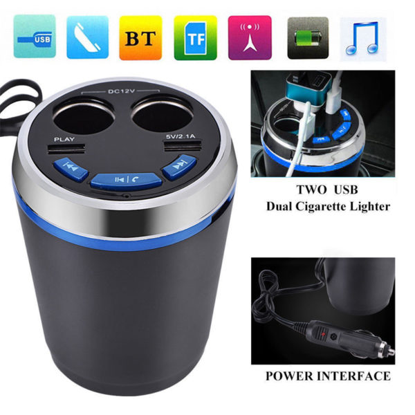 BT Car Cigarette Lighter FM Transmitter Bluetooth Radio Adapter Dual USB Charger
