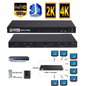 4K 8 Way HD HUB 3D HDMI Splitter 1x8 Amplifier Switcher Power Supply For HDTV