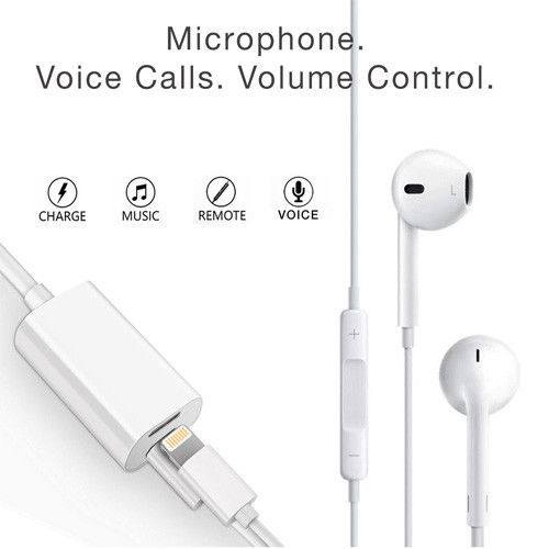 Double Lightning Jack Lightning Audio Output & Charge Adapter Cable for iOS >11