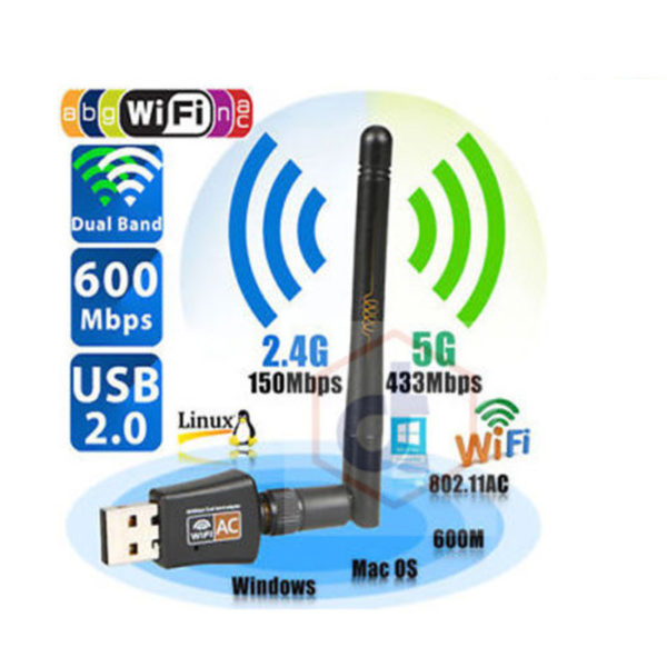 600 Mbps Dual Band 2.4/5Ghz USB Adapter WiFi Network Wireless w/Antenna 802.11