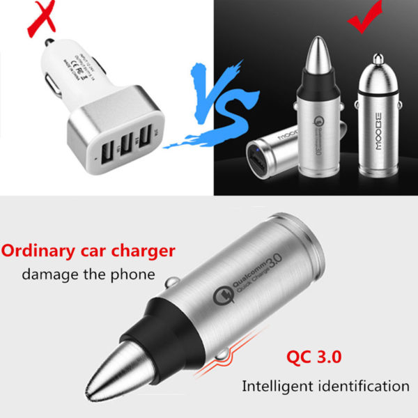 QC 3.0 Car Fast Charger Bullet-shape Anti-skid for iPhones iPads Android Phone