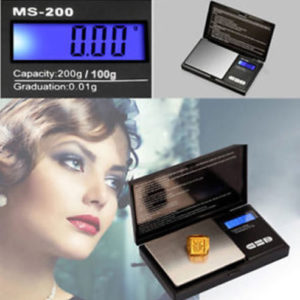 Electronic Pocket Black Digital Gold Jewellery Weighing Scales 0.01G - 200 Grams