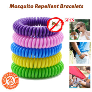 5 x Mosquito Repellent Bracelets Natural Waterproof Spiral Deet Free Wrist Bands