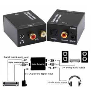 Audio Converter RCA Digital Optical Analog Adapter Coaxial Toslink L/R