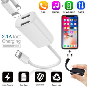 2 In 1 Dual Lightning Audio Headphone Charger Adapter Splitter For iPhone