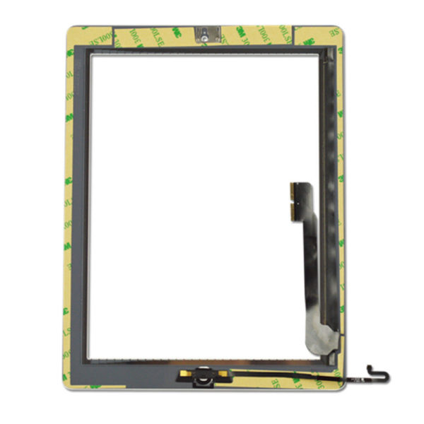 iPad 4 White Replacement Screen Touch Digitizer + Frame Bezel + Home Button Flex